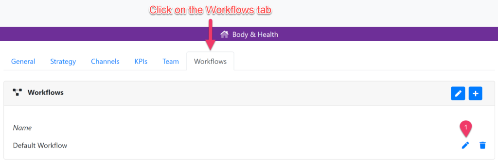 The project settings of an example project. Click on the workflow tab to manage your workflows.